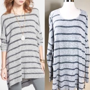 EUC✨FREEPEOPLE Knit Oversized Tunic Stripes Gray L